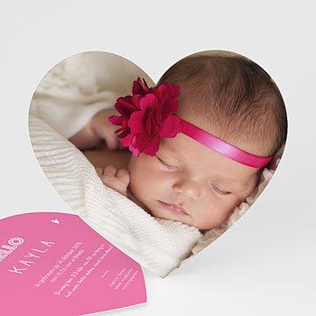 Geboortekaartjes met foto - Pink heart - 0