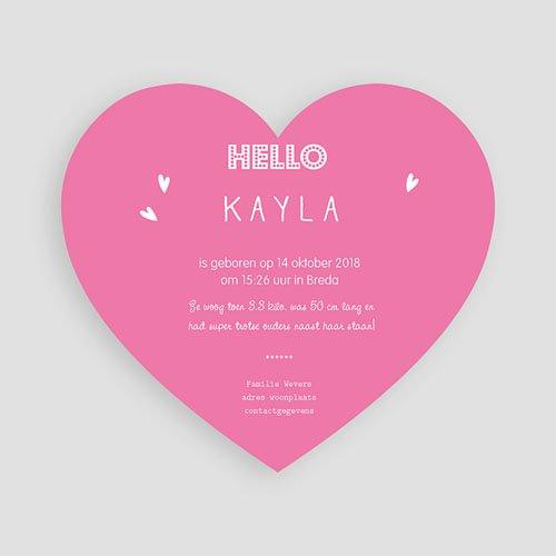 Geboortekaartjes met foto Pink heart pas cher