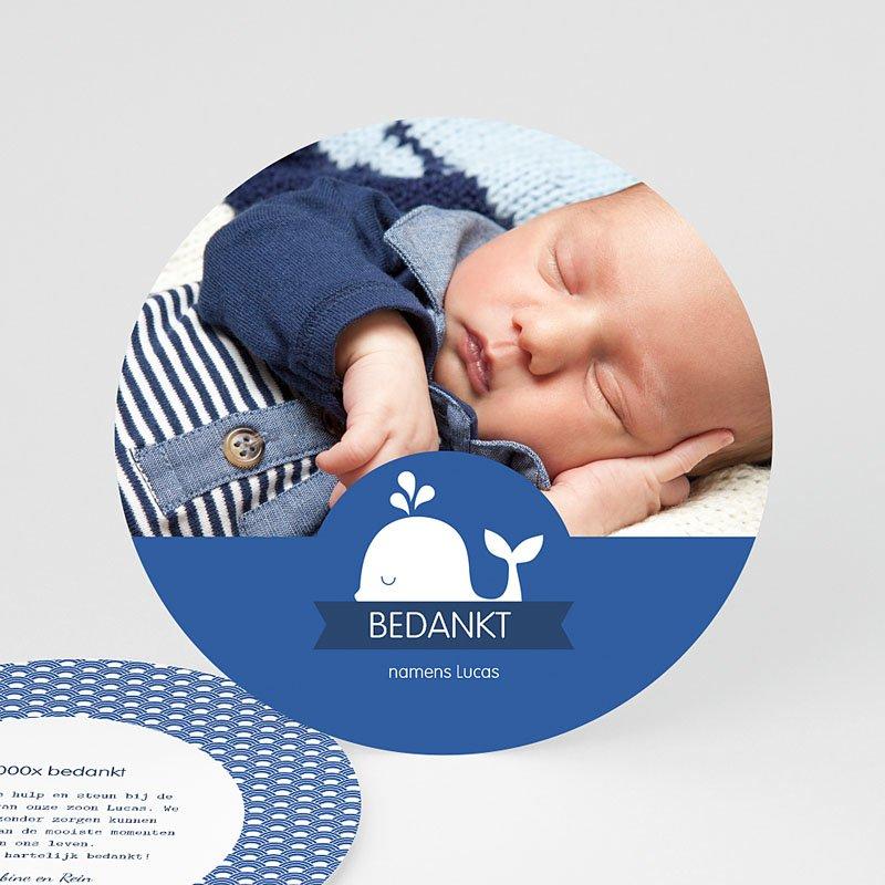 Bedankkaartje geboorte zoon - Walvisje 44561 thumb