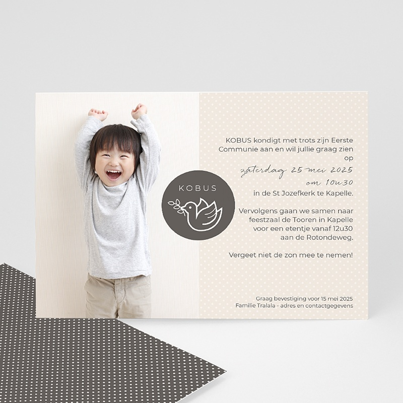 Uitnodiging communie jongen - Communie duif 45823 thumb
