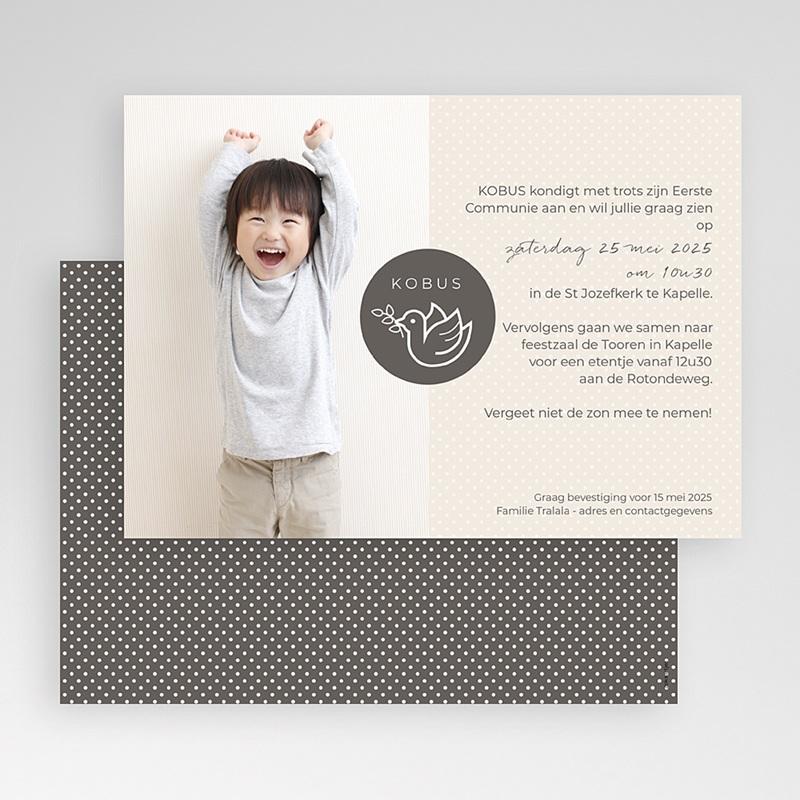 Uitnodiging communie jongen - Communie duif 45825 thumb