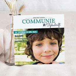 Uitnodiging communie jongen Communion Magazine