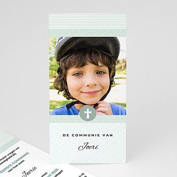 Uitnodiging communie jongen - Motifs bleus étoiles - 0
