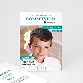 Bedankkaart communie jongen - Magazine Communion - 0