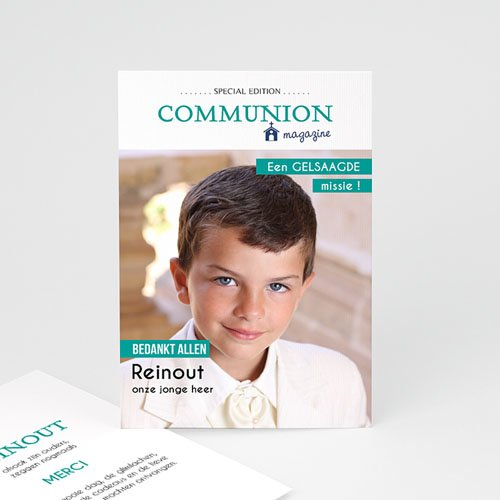 Bedankkaart communie jongen - Magazine Communion 46421 thumb