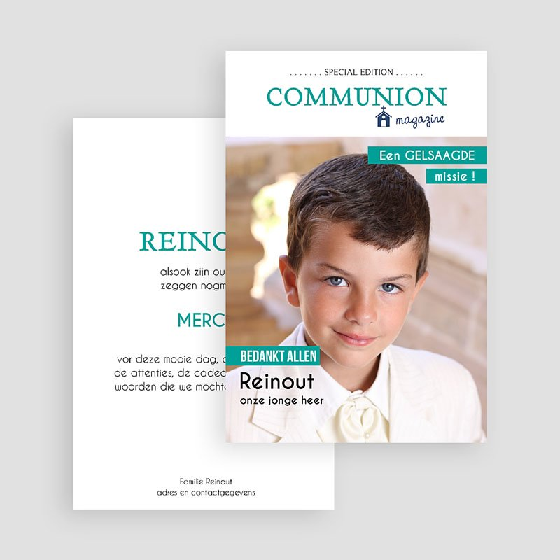 Bedankkaart communie jongen - Magazine Communion 46423 thumb