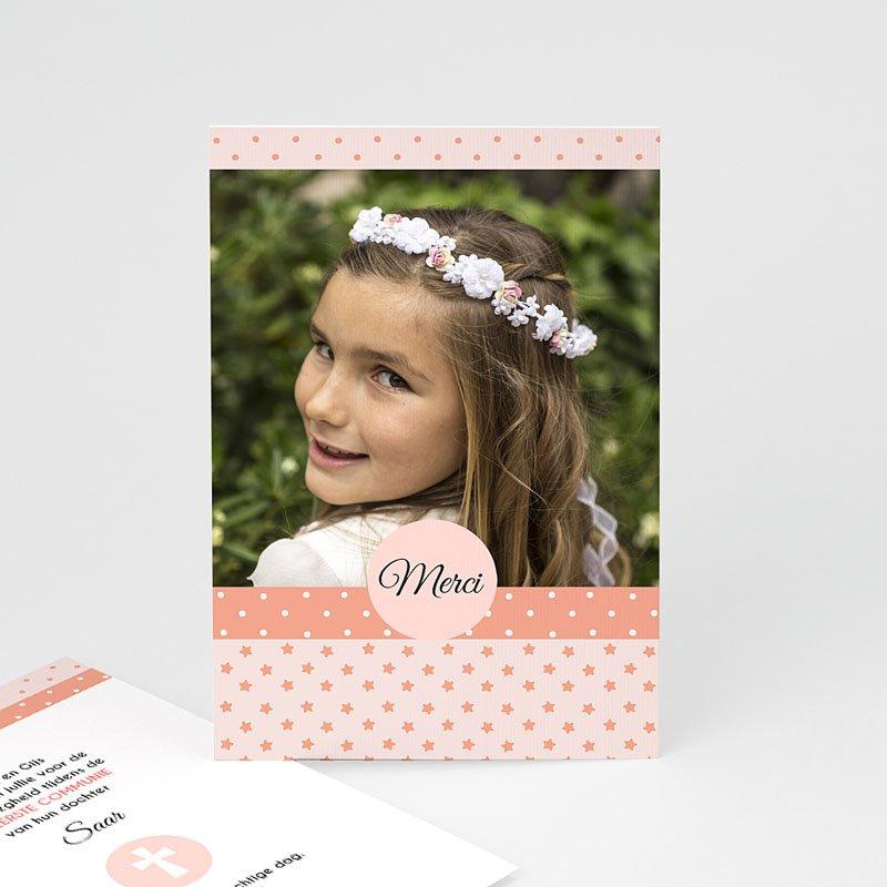 Bedankkaart communie meisje - Motifs rose 46430 thumb