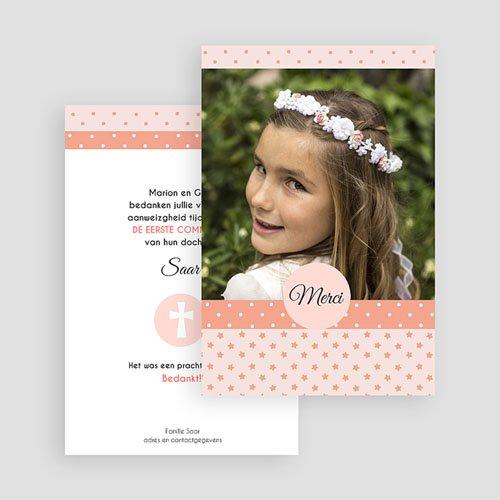 Bedankkaart communie meisje - Motifs rose 46432 thumb