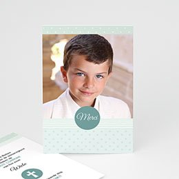 Bedankkaart communie jongen - Motif bleus - 0