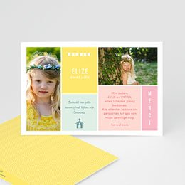 Bedankkaart communie meisje - Couleur - 0