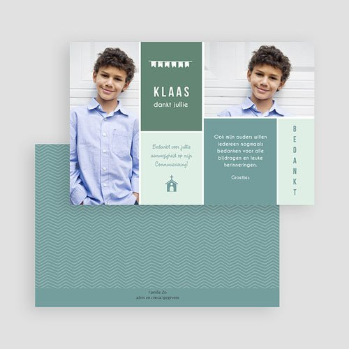 Bedankkaart communie jongen Kapel gratuit