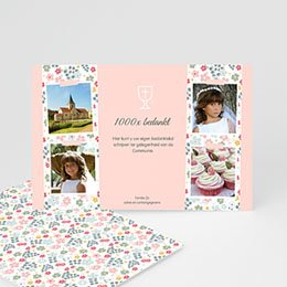 Bedankkaart communie meisje - Bloemrijke ceremonie - 0