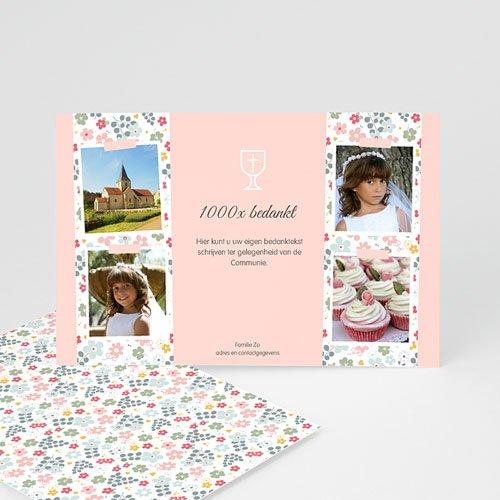 Bedankkaart communie meisje - Bloemrijke ceremonie 46521 thumb