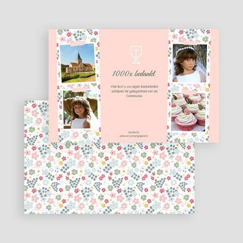 Bedankkaart communie meisje - Bloemrijke ceremonie 46523 thumb