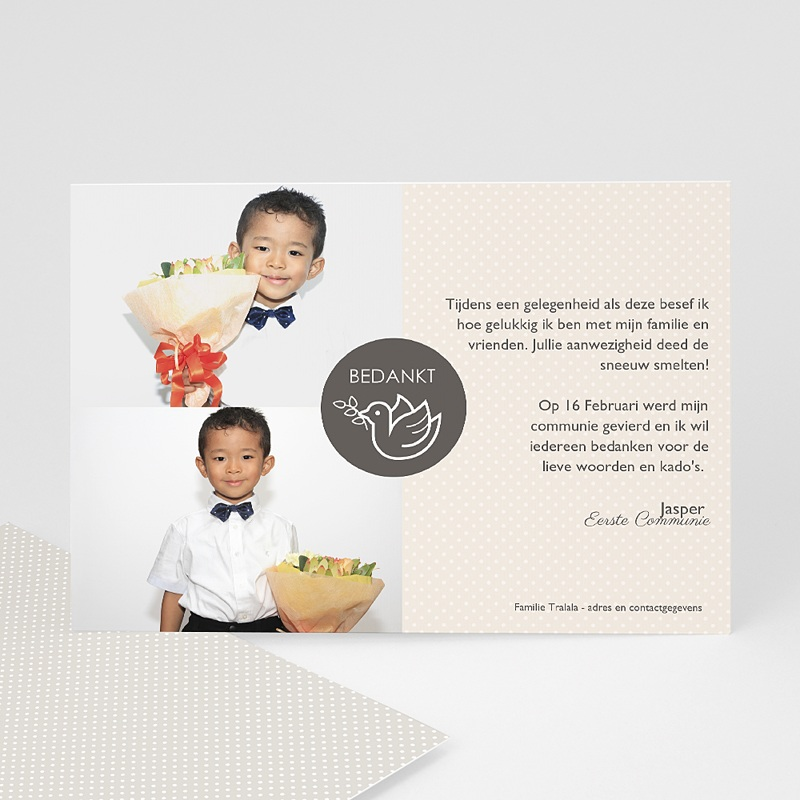 Bedankkaart communie jongen - Torteldank 46575 thumb