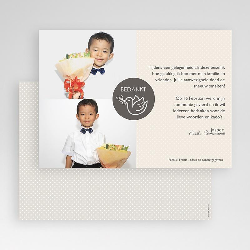 Bedankkaart communie jongen - Torteldank 46577 thumb