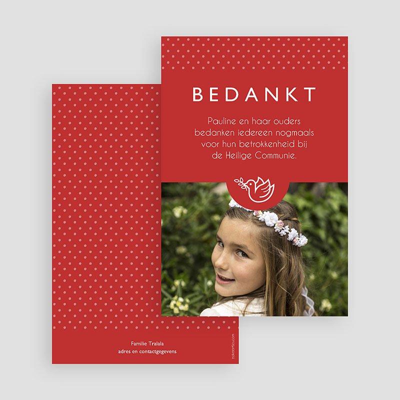 Bedankkaart communie meisje Torteldank dochter gratuit