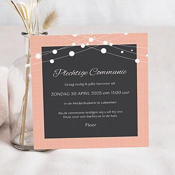 Uitnodiging communie meisje - Eerste maaltijd - 0