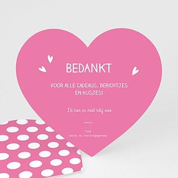 Bedankkaartje geboorte dochter - Pink heart - 0