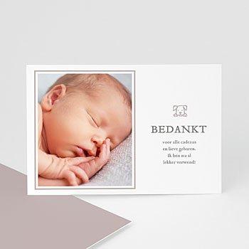 Bedankkaartje geboorte zoon - modern taupe - 0