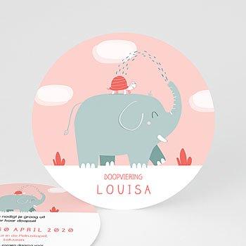 Doopkaartje meisje - Ronde roze olifant - 0