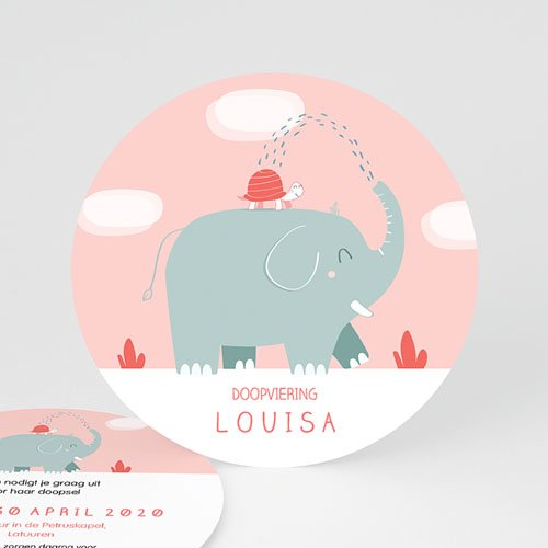 Doopkaartje meisje - Ronde roze olifant 46919 thumb