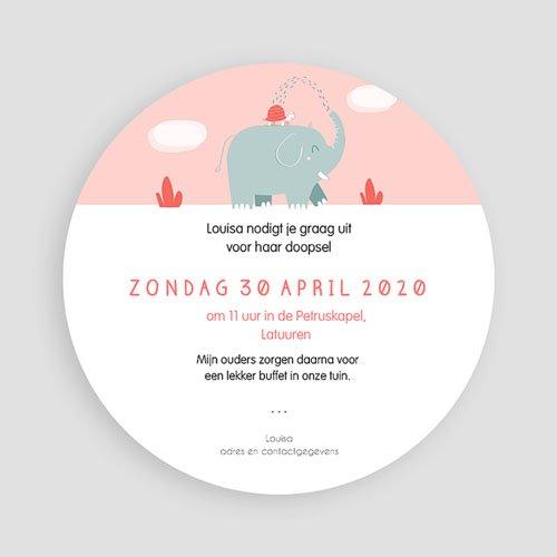 Doopkaartje meisje - Ronde roze olifant 46920 thumb
