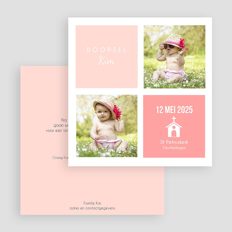 Doopkaartje meisje - Roze 2x2 46966 thumb