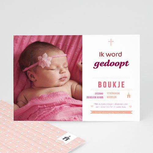 Doopkaartje meisje - Elegant en al roze 47030 thumb