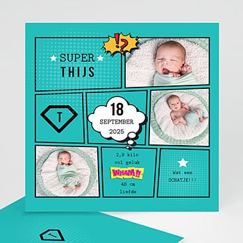 Geboortekaartje jongen - Super tweeling - 0