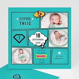 Geboortekaartje jongen Super tweeling