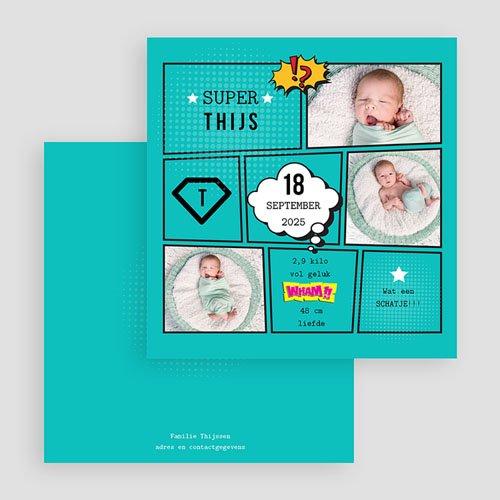 Geboortekaartje jongen - Super tweeling 47086 thumb