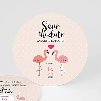 Save the date kaartjes - Pink flamingo - 0