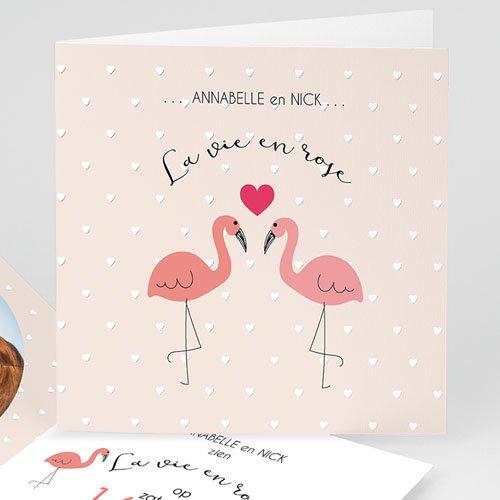 Personaliseerbare trouwkaarten - Roze flamingo 47319