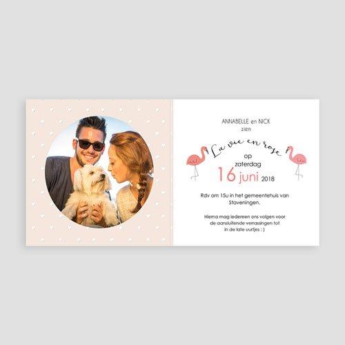 Personaliseerbare trouwkaarten - Roze flamingo 47320 preview