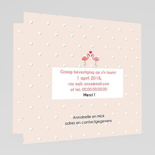 Personaliseerbare trouwkaarten - Roze flamingo 47321 preview