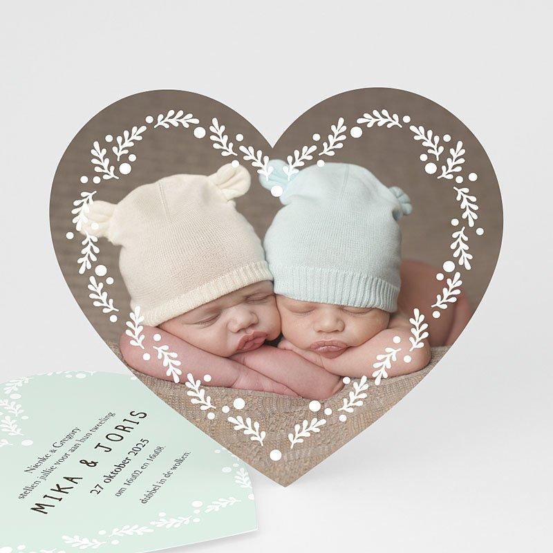 Geboortekaartjes Tweeling Een tweeling ronde