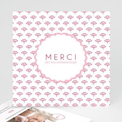 Bedankkaartje geboorte dochter - Proze roze 48157 preview