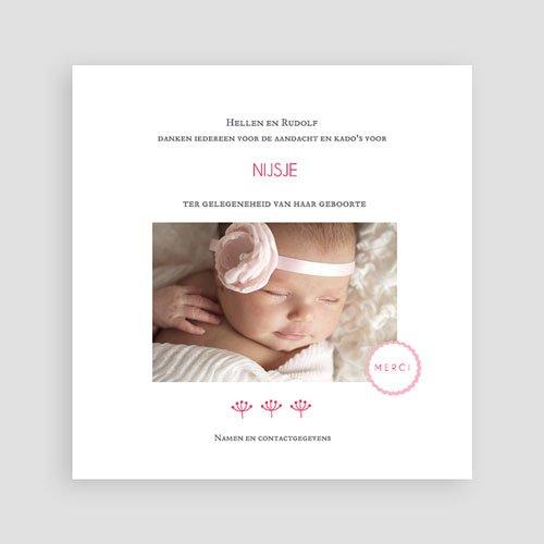 Bedankkaartje geboorte dochter - Proze roze 48158