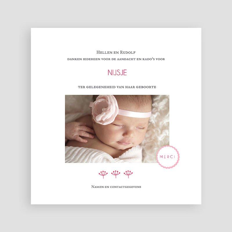 Bedankkaartje geboorte dochter - Proze roze 48158 thumb