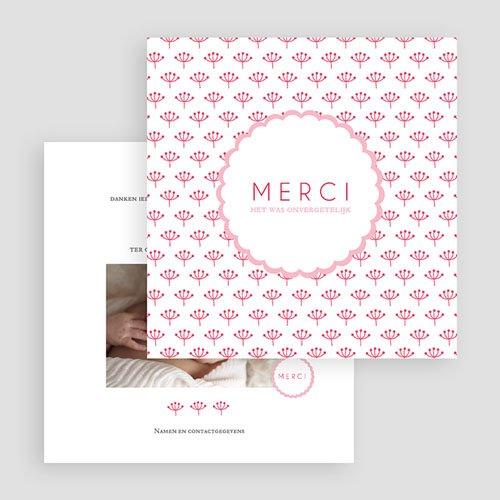 Bedankkaartje geboorte dochter - Proze roze 48159 preview
