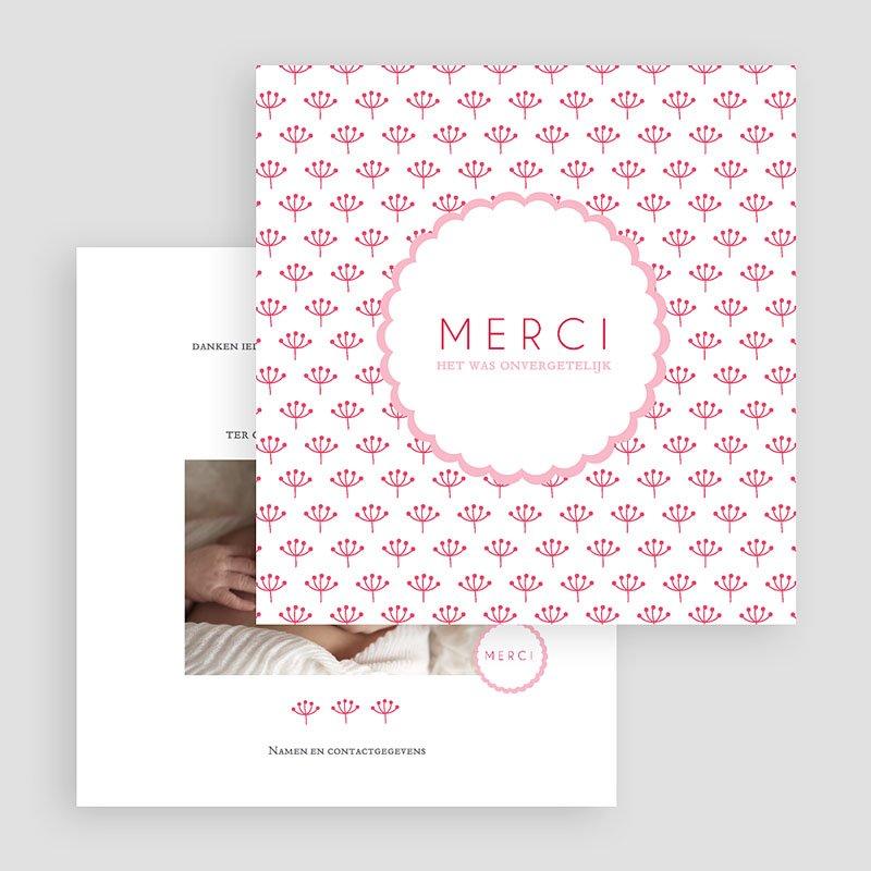 Bedankkaartje geboorte dochter - Proze roze 48159 thumb