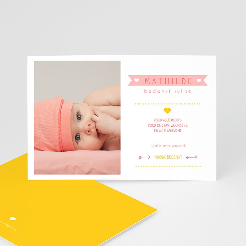 Bedankkaartje geboorte dochter - Samengevat 48175 thumb