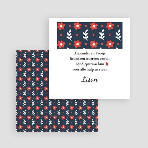 Bedankkaartje geboorte dochter - Blauwe bloemen 48243 thumb