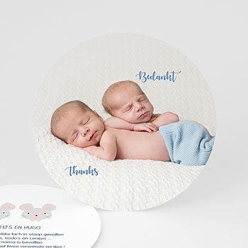 Bedankkaartje geboorte tweelingen - Muisjes - 0