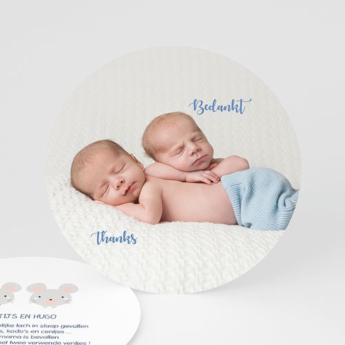 Bedankkaartje geboorte tweelingen - Muisjes 48252