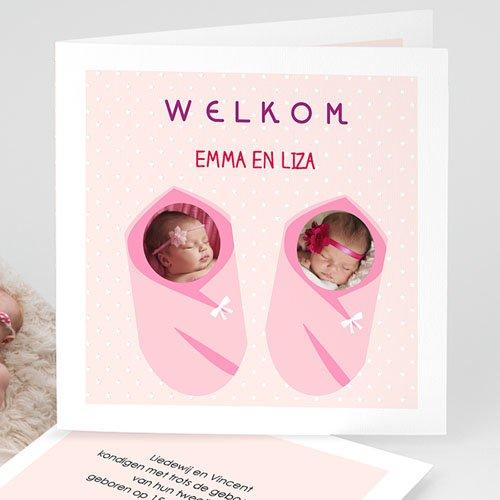 Geboortekaartjes tweelingen - Met roze 48305 thumb