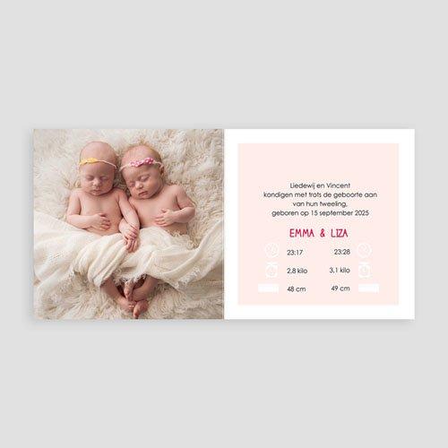 Geboortekaartjes tweelingen - Met roze 48306 thumb