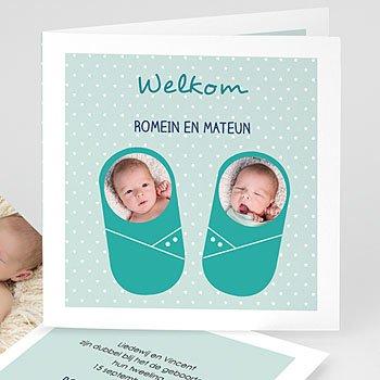Geboortekaartjes tweelingen - Met blauw - 0