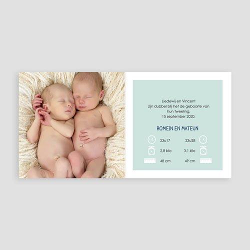 Geboortekaartjes tweelingen - Met blauw 48315 thumb
